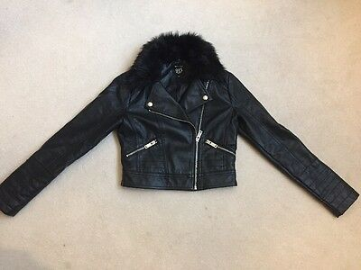 Girls Leatherette Bomber Jacket With Faux  Fur Collar Aged 10-11yrs New Look