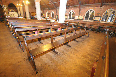 ANTIQUE CHURCH PEW BENCH VICTORIAN PITCH PINE 10ft - 14ft