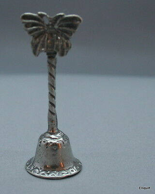 Vintage Silver White Metal Butterfly Miniature Hand Bell