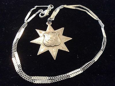 Sterling Silver Star Shaped Fob on Sterling Silver Chain