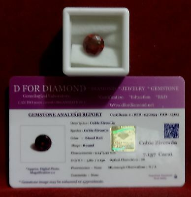 7.137 Ct. Cubic Zirconia Blood Red Round Premier Grade Ring Size Lab Certified