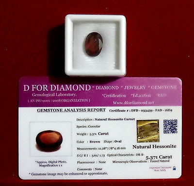 5.371 Ct Excellent Natural Hessonite New Loose Gemstone Lab Certified