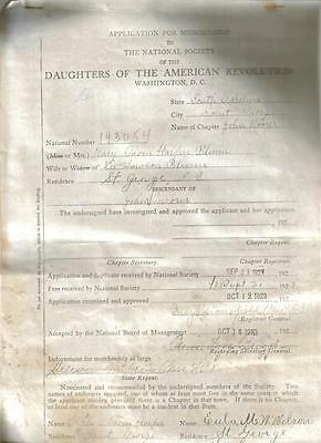 Daughters Of The American Revolution 1923 Application- St. George, Sc