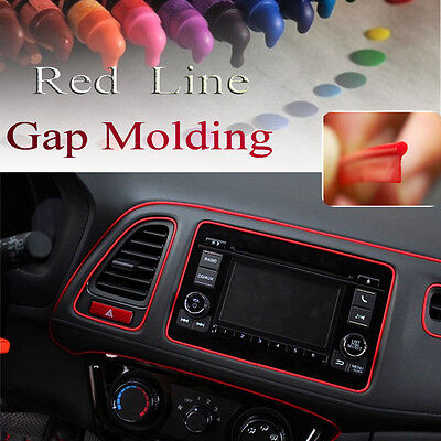 For Universal Car Interior Garnish 5M Point Molding Accessory Red Edge Gap Line