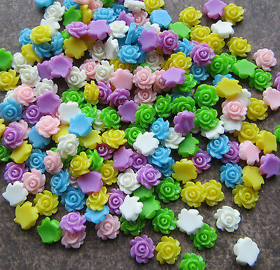 200 Resin Rose Cabochoncs Flower 7mm Flat Backs Tiny Cute Little Mixed