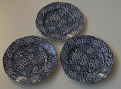 THREE Vintage Burleigh Blue Calico Side Plate 7 1/2
