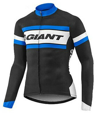 Giant Cycling Team Black Jersey Long Sleeve Winter Fleece Top - Extra Large - UK