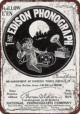 1901 Edison Phonograph Vintage Look Reproduction Metal Sign