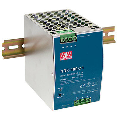 Mean Well NDR-480-24 24V 20A 480W Industrial DIN Rail Power Supply Single Output