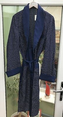 Vinatge 1940s Tootal Style Blue Polka Dot Smoking Jacket Dressing Gown Size M