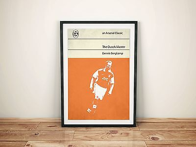 Arsenal Dennis Bergkamp A3 Picture Art Poster Retro Penguin Book Style Print AFC