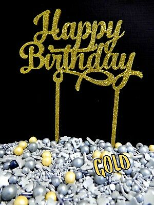 RAW, GOLD GLITTER Happy Birthday SIGN CAKE TOPPER 3 PLY DECORATION PLAQUE PARTY