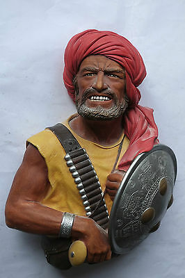 Superb Vintage Large Bossons Pathan Warrior Chalkware Wall Plaque Near Mint
