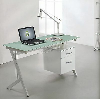 FoxHunter Computer Desk Table With Glass Top 2 Drawers Home Office CD10 White
