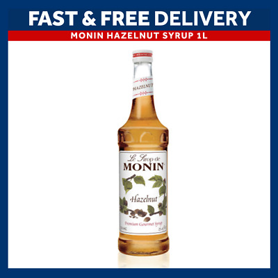 MONIN Coffee Cocktail Syrups - 1L Bottle - HAZELNUT Syrup - USED BY COSTA COFFEE