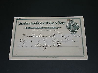 Brazil 1915 postage due postal card to Germany faults *8384