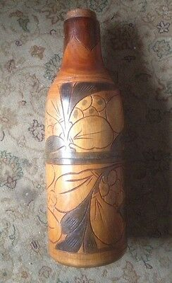 Wooden Haitian Hand Carved Wine Bottle Holder - 2 Pieces- 33cm high