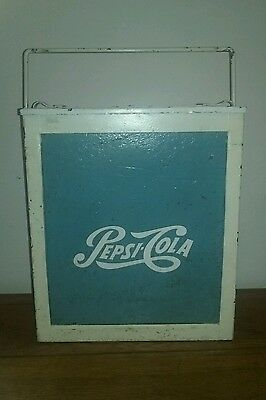 BLUE AND WHITE VINTAGE 1950s PEPSI COLA COOLER ICE CHEST