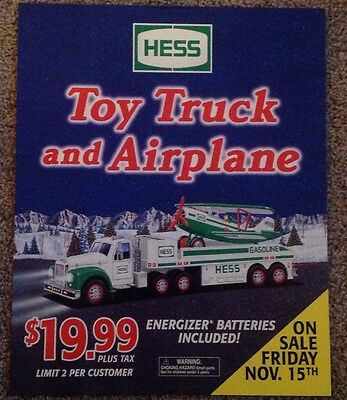 2002 Hess Toy Truck And Airplane Advertising Poster sign