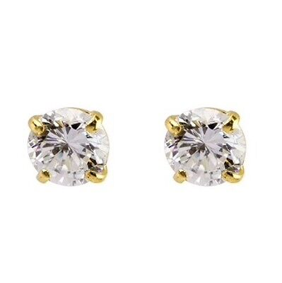 100% Genuine Solid 9ct 9k 375 Yellow Gold 1ct Simulated Diamond Stud Earrings
