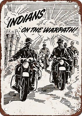 1943 Wartime Indian Motorcycles Vintage Look Reproduction Metal Sign