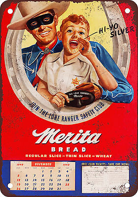 1948 Lone Ranger for Merita Bread Vintage Look Reproduction Metal Sign