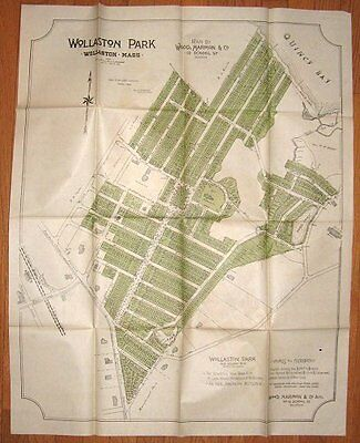 Large 1890 Quincy MA Wollaston Park map w/suburban homes pattern book
