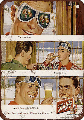 1950 Schlitz Beer and Skiing Vintage Look Reproduction Metal Sign
