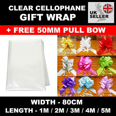 Clear Cellophane Gift Wrap 80cm with FREE Pull Bow - Choose Your Colour