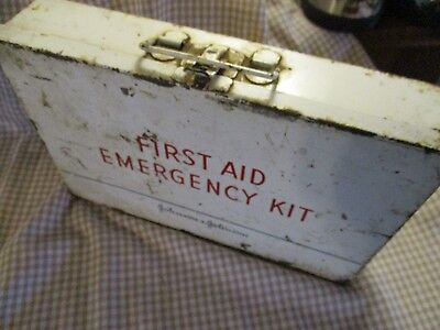 vintage Johnson and Johnson first aid kit, Red Cross bandages