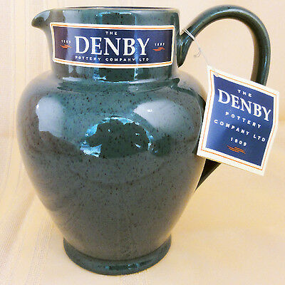 "HARLEQUIN JUG PITCHER 7.5"" tall BLUE IN/GREEN OUT DENBY ENGLAND NEW NEVER USED"