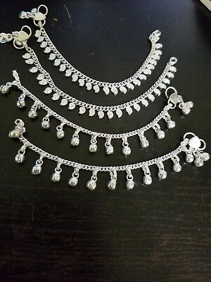 """child lot 4 silver bells ankle anklet bracelet foot jewelry paisley India 7"""" ATS"""