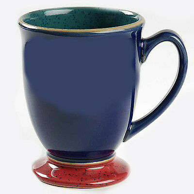 "HARLEQUIN MUG 4.25"" tall BLUE OUT/GREEN IN DENBY made in ENGLAND NEW NEVER USED"