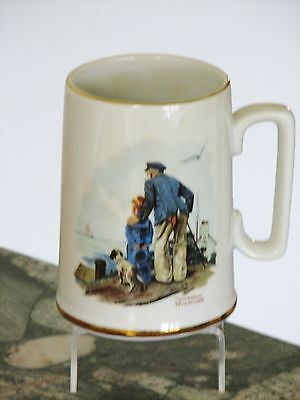 """Norman Rockwell Tankard Style Mug """"LOOKING OUT TO SEA"""" Nautical Theme"""
