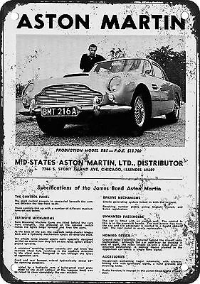 1966 James Bond Aston Martin Vintage Look Reproduction Metal Sign
