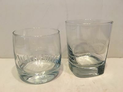 2 Jack Daniels Whiskey Glasses Old No 7 Brand Etched Bottom & Square Sides