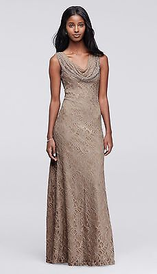 NWT David's Bridal Cachet Lace Bronze Taupe Mother of the Bride Groom Dress 14