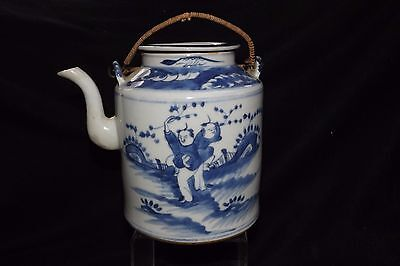 CHINESE EXPORT antique pottery/ Kids at Play porcelain Blue & White TEAPOT& LID