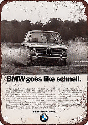 1970 BMW Goes Like Schnell Vintage Look Reproduction Metal Sign