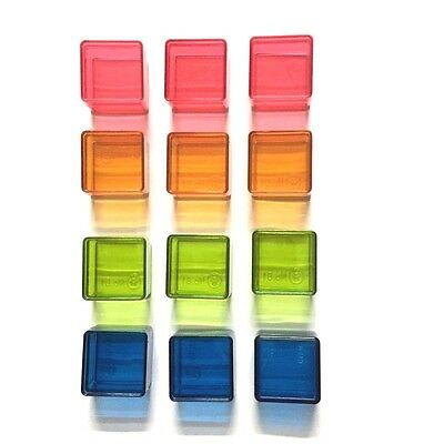 12 Pcs Plastic Boxes Square Keep Tiny Jewelry Bead Storage Small Clear 4 Colours