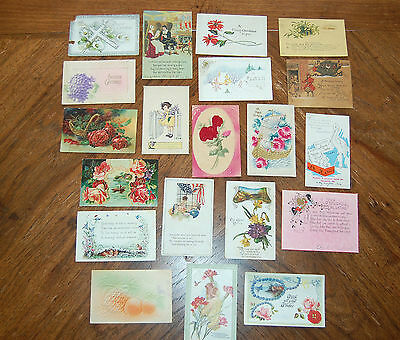 Vintage Greeting Cards Christmas Valentines Easter Birthday Baby Mixed Lot of 20