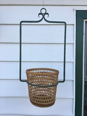 """Vintage Hanging Wrought Iron Pot Holder Large 23.5"""" Tall Heavy Duty"""