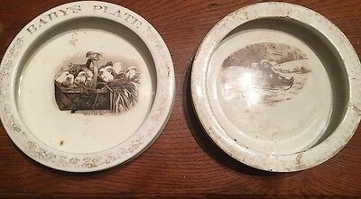 2 Antique Harker Pottery Baby Plate Bowls Children & Chickens 1890's Vintage