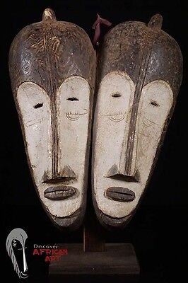Discover African Art Fang Ngil 2 Face Mask on Custom Stand DRC