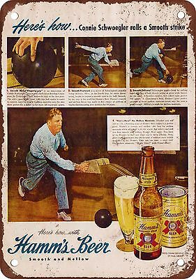 Hamm's Beer and Bowling Vintage Look Reproduction Metal Sign