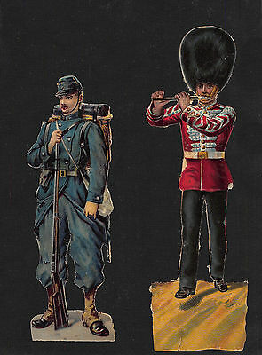 2 x ANTIQUE DIE CUT EMBOSSED SCRAPS ~ VICTORIAN SOLDIERS ~15cm GUARD + EUROPEAN