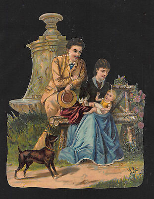 ANTIQUE 14cm DIE CUT CHROMO SCRAP ~ FAMILY in PARK SCENE ~ COUPLE, BABY & DOG