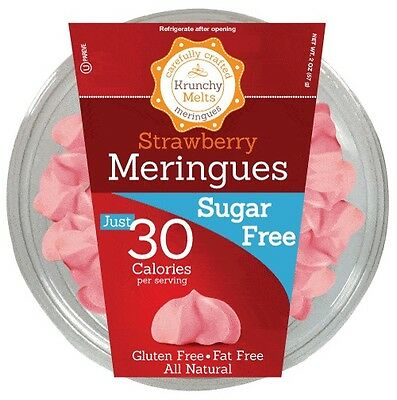 Krunchy Melts Sugar Free Meringues - Strawberry, Low Carb, Fat Free, Stevia