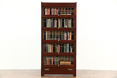 Globe Wernicke Mission Leaded Glass Mahogany Barrister Lawyer Stacking Bookcase