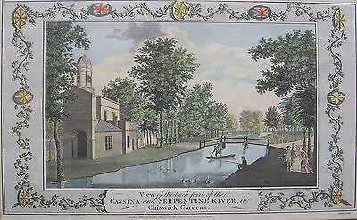 London, Chiswick Gardens, genuine hand coloured 18th century engraving framed